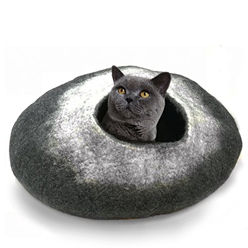 100% Natural Wool LARGE Cat Cave - Handmade Premium Shaped Felt - Makes Great Covered Cat House and Bed for Kitty. For Indoor Cozy Hideaway. Large Pod Soft Hooded Bed Area. (White Tip Charcoal, Large)