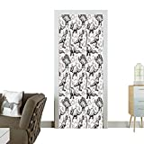 magnificent thomas wall decals Art Door Stickers Magnificent Reptiles with Foots Doodle Style Ancient Animals Abstract Patter Door Decals for Home Room DecorationW32 x H80 INCH