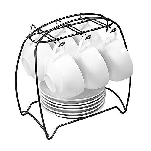 77L Tea Cups and Saucers Sets, Set of 6, [3.75 OZ(200 ML) Tea Cup] Ceramic Espresso Latte Coffee Cups and Saucers Set with Iron Display Stand - Coffee Cups and Saucers Set for Home and Office, White -