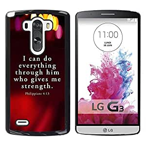 Be Good Phone Accessory // Dura Cáscara cubierta Protectora Caso Carcasa Funda de Protección para LG G3 D855 D850 D851 // BIBLE Philippians 4:13 I Can Do Everything