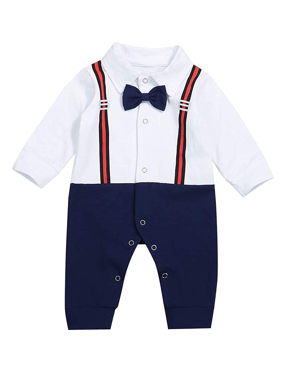 Baby Boy Gentleman Outfits Suits Infant Long Sleeve Romper Bib Pants Bow Tie Overalls Clothing Set