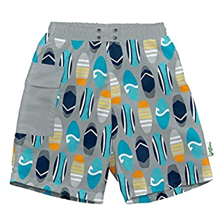 i play. by green sprouts baby-boys Trunks with Built-in Reusable Swim Diaper,Gray Surfboards,4T