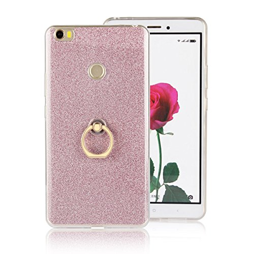 Price comparison product image Moonmini Xiaomi Mi Max. Case Cover Sparkling Slim Fit Soft TPU Back Case Cover with Ring Grip Stand Holder 2 in 1 Hybrid Glitter Bling Bling TPU phone Case Cover (Pink)
