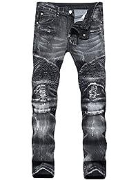 Men's Biker Moto Slim Fashion Skinny Distressed Straight Fit Denim Jeans Pants