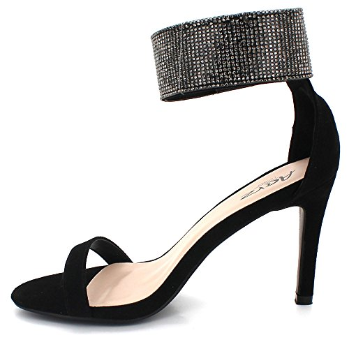 Womens Party Diamante Gladiator Heel Shoes AARZ LONDON Evening Wedding Sandals Crystal Black Prom Size Ladies High 0F5nwB