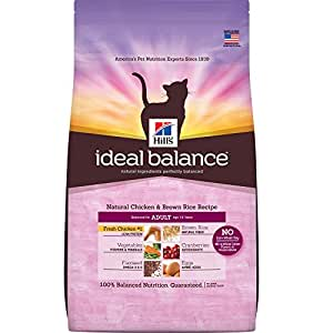 Hill's Ideal Balance Adult Natural Chicken & Brown Rice Recipe Dry Cat Food, 15-Pound Bag