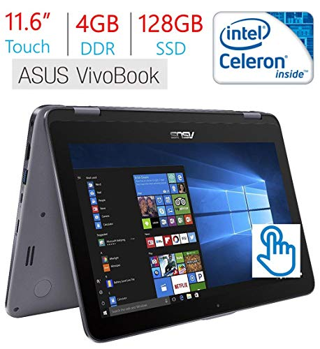 - Asus VivoBook Flip 11.6in Touchscreen 2-in-1 Laptop/Tablet, Intel Celeron N3350, 4GB RAM, 128GB SSD, WiFi, FingerPrint Reader, Stylus Pen, Windows 10 Home (Renewed)