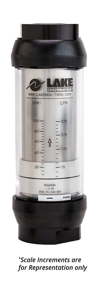 "Lake Monitors Basic Variable Area Oil Flow Meter (Aluminum with 1""NPT + 1-15 GPM)"