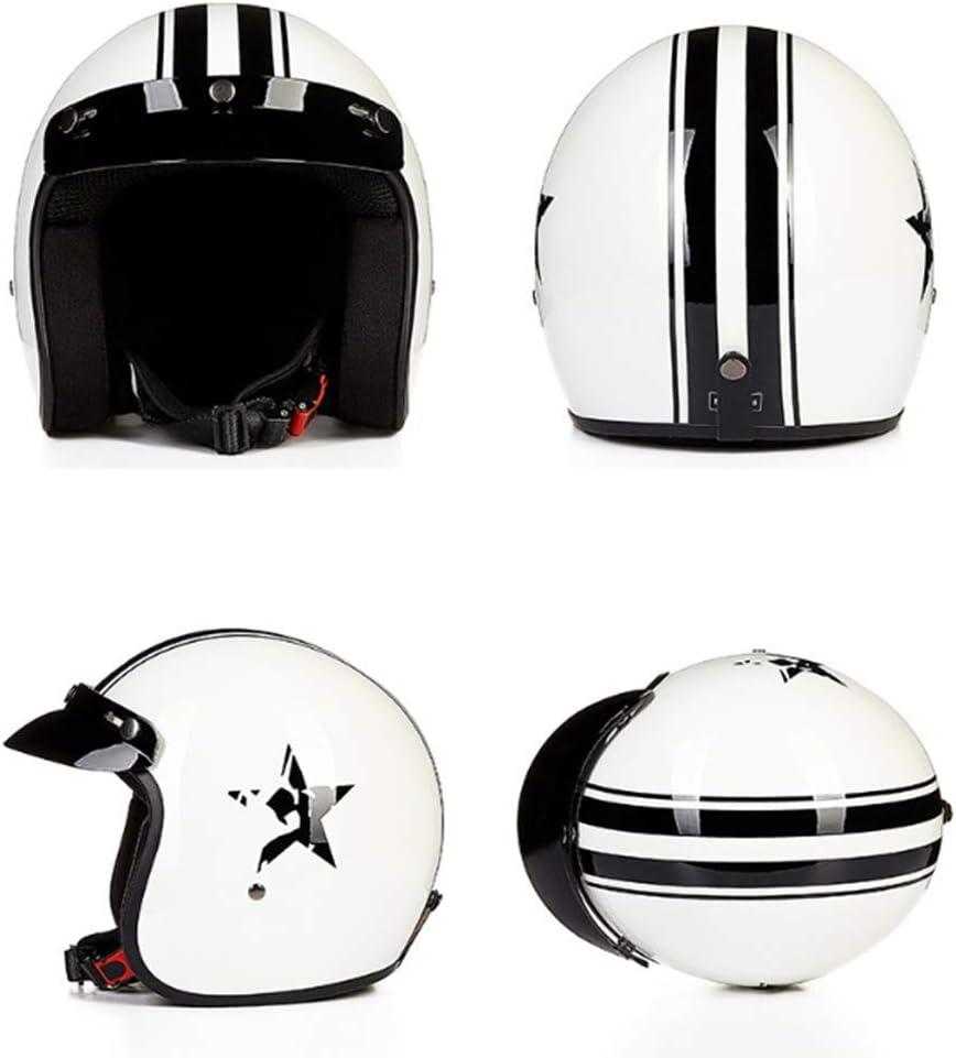 XC Casco De Moto Media Cara, Ligero Calle Bicicleta Bicicleta Cruiser Scooter Moto ATV Casco, Brillante Blanco Negro Estrella,M: Amazon.es: Deportes y aire libre