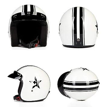 XC Casco De Moto Media Cara, Ligero Calle Bicicleta Bicicleta Cruiser Scooter Moto ATV Casco, Brillante Blanco Negro Estrella: Amazon.es: Deportes y aire ...