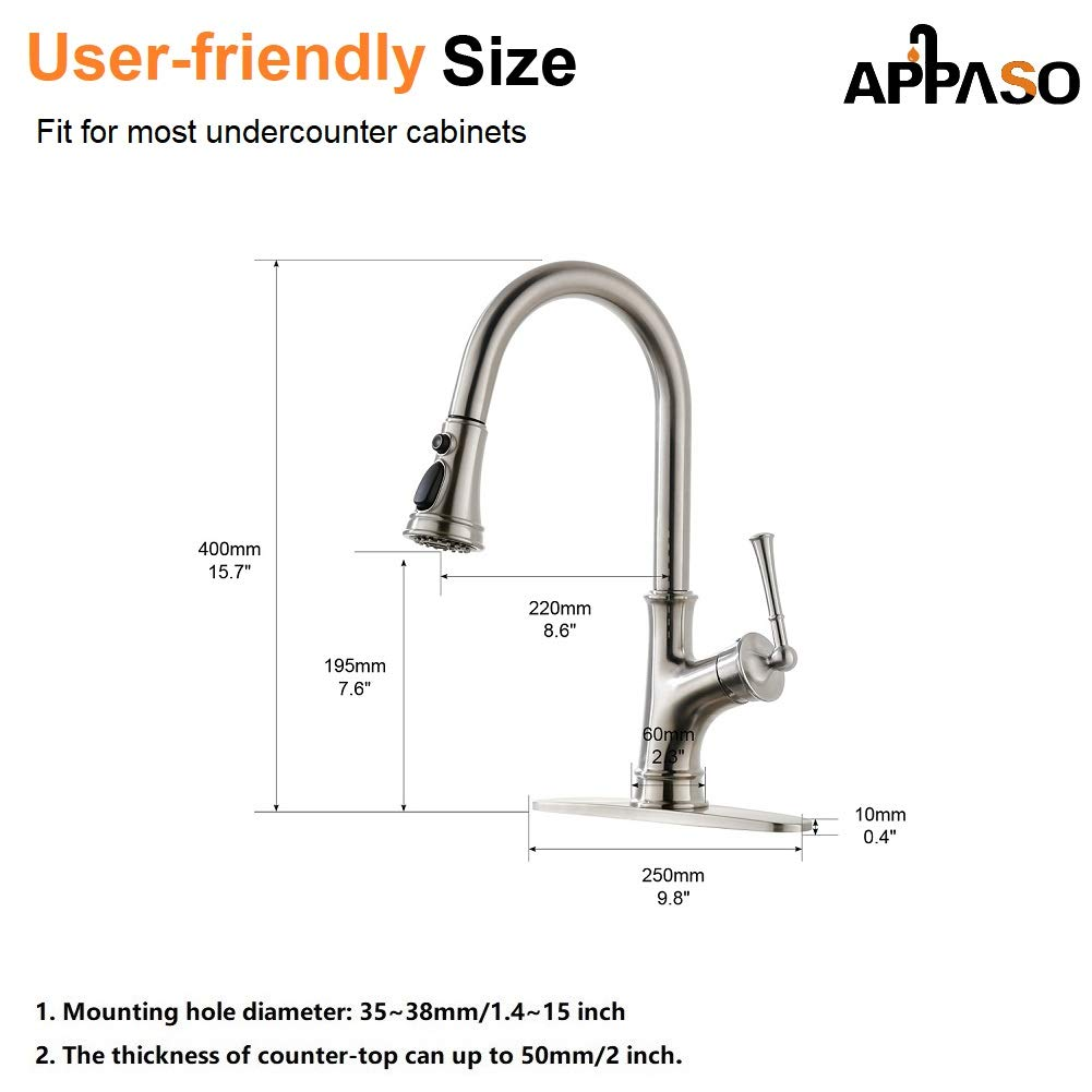 APPASO Pull Down Kitchen Faucet with Magnetic Docking Sprayer, Stainless Steel Brushed Nickel Single Handle Commercial High Arc Single Hole Pull Out Kitchen Sink Faucets with Deck Plate by APPASO (Image #7)
