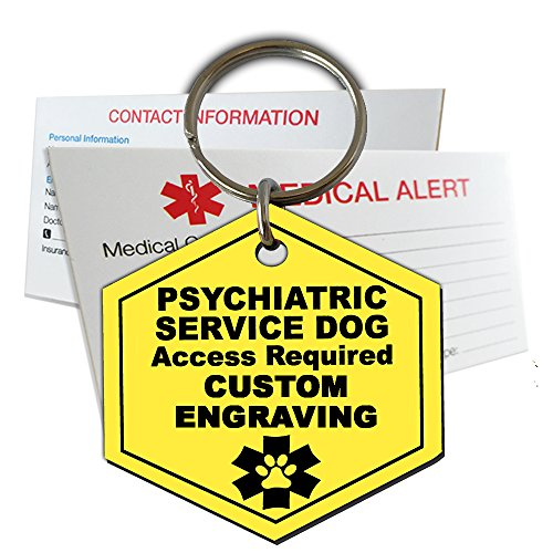 (My Identity Doctor Psychiatric Service Dog ID Tag Custom Engraved Hexagon Plastic Made in USA - Yellow - Extra)