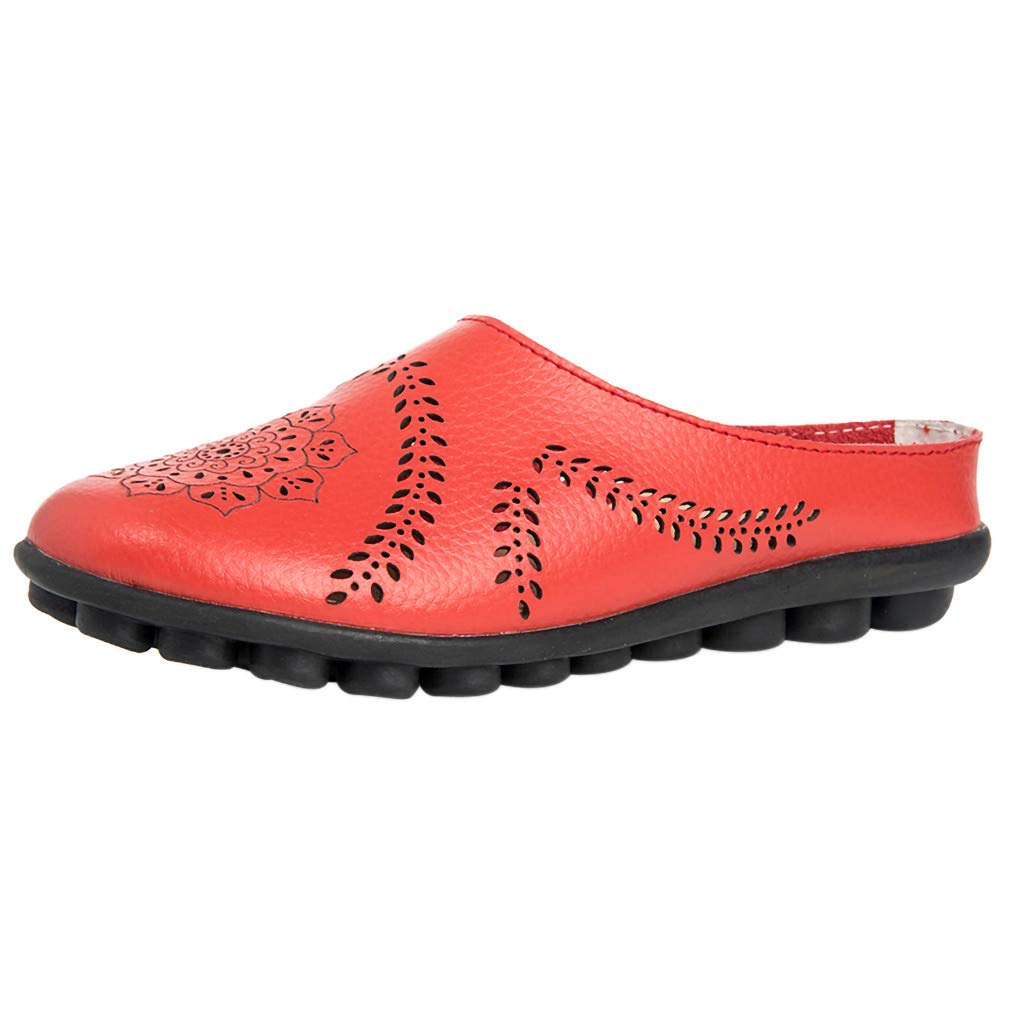 Tsmile Summer Women Casual Single Shoes Plus Size Hollow Flats Slippers Sandals Soft Bottom Beach Shoes