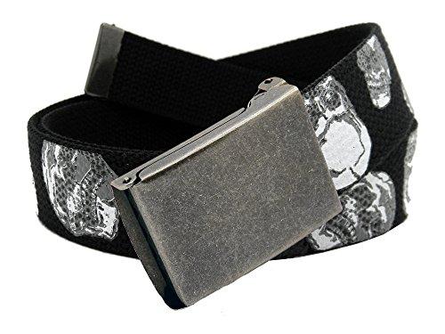 Skull Web Belt - Boys School Uniform Distressed Silver Flip Top Military Belt Buckle with Canvas Web Belt Small Skulls Print