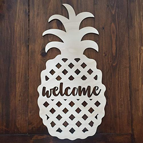 Unfinished Pineapple Door Hanger Welcome Sign - Beach Door Hanger - Pineapple Welcome Wreath - Summer Door Hanger - Coastal Beach Decor