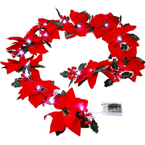 BBTO Red Poinsettia LED Garland Christmas Light Garland with Red Berries and Holly Leaves Red Flower Garland for Christmas Party Decoration (6.5 ft) (Christmas Red Flower Lights)