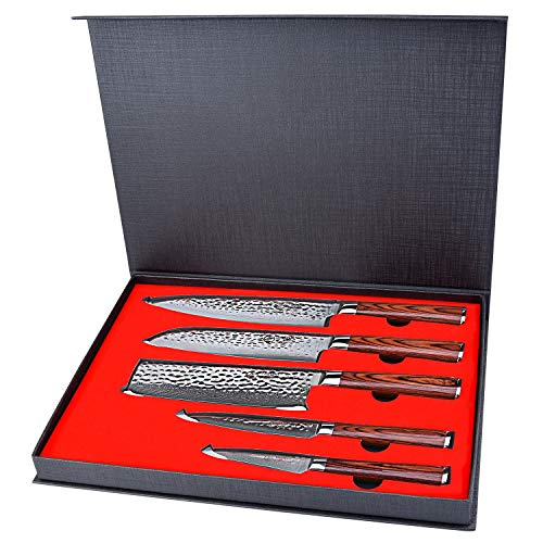 Kitchen Knife Set 5 Piece,Yarenh Chef Knife Set Professional with High Carbon Japanese Damascus Steel Blade,Pakka Wood Handle,Gift Box Packaging,Sharp Vegetable Knives Sets HYZ-Series