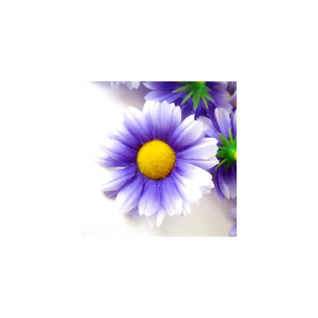 12-Silk-Purple-White-Edge-Gerbera-Daisy-Flower-Heads-Gerber-Daisies-175-Artificial-Flowers-Heads-Fabric-Floral-Supplies-Wholesale-Lot-for-Wedding-Flowers-Accessories-Make-Bridal-Hair-Clips-Headbands-D