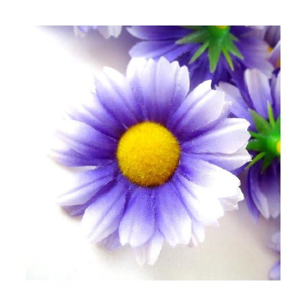 100-Silk-Purple-White-Edge-Gerbera-Daisy-Flower-Heads-Gerber-Daisies-175-Artificial-Flowers-Heads-Fabric-Floral-Supplies-Wholesale-Lot-for-Wedding-Flowers-Accessories-Make-Bridal-Hair-Clips-Headbands-