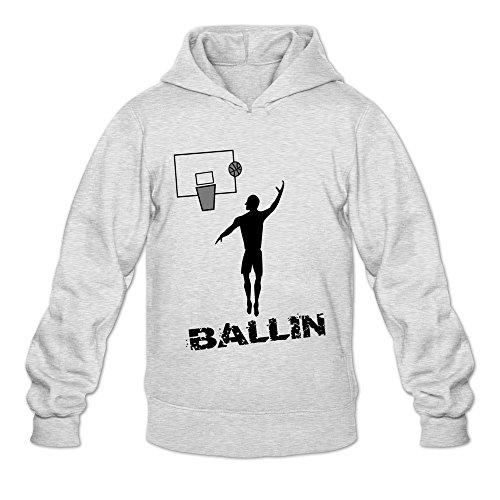 Price comparison product image Men's Baskettball Ballin Street Hoodies Sweatshirt Size XXL US Ash