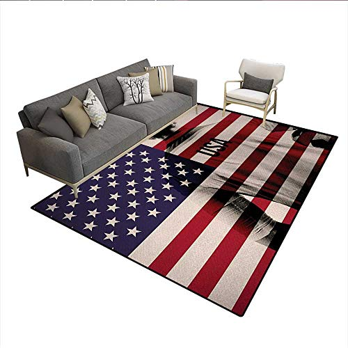 Rug,Composite Double Exposure Image of A Soccer Player and American Flag USA Run,Floor Mat for Kids,Beige Blue Redsize:6'6