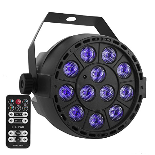 URlighting UV Black Light PAR Lights DJ Party Light Stage Blacklight Spotlight, 36W 12 LEDs with Sound Activated IR Remote for School Prom Disco Christmas Halloween Pub Club Neon Glow Show Concerts