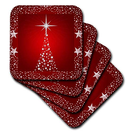 - 3dRose CST_164753_3 Silver Star Christmas Tree with Holiday Red Background Ceramic Tile Coasters (Set of 4)