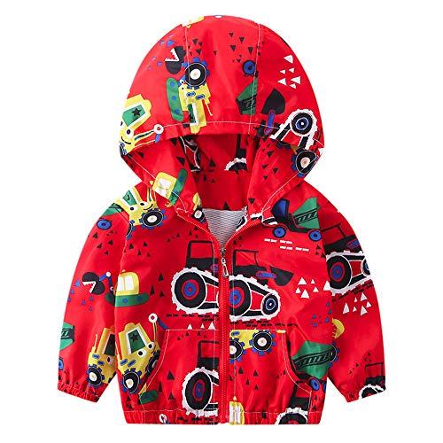 Kehen Boy's Girl's Dinosaur Print Zip Jacket Hooded Windproof Raincoat Toddler Baby Long Sleeve Hoodie Trench Coat (#2 Orange, 4T)
