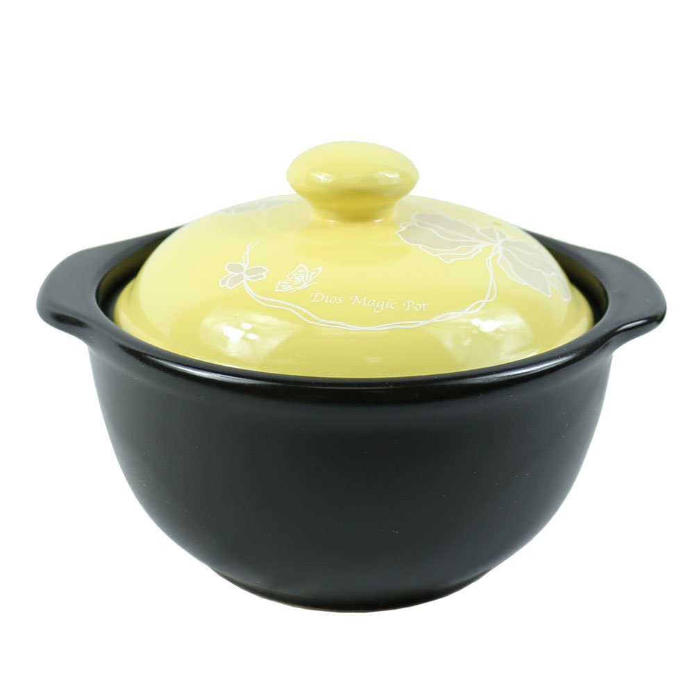 The Elixir Eco Green Stovetop Ceramic Stew Pot Hot Pot Clay Pots with Color Lid Stockpot Cookware, 1 QT
