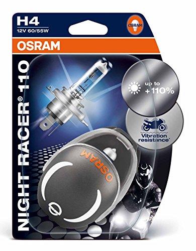 OSRAM NIGHT RACER 110 H4 Halogen, Motorrad-Scheinwerferlampe, 64193NR1-02B, Doppelblister (2 Stück mit Miniatur Motorradhelm)
