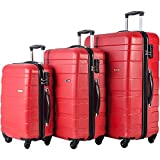 Merax Afuture 3 Piece Luggage Set Lightweight Spinner Suitcase (Watermelon Red)