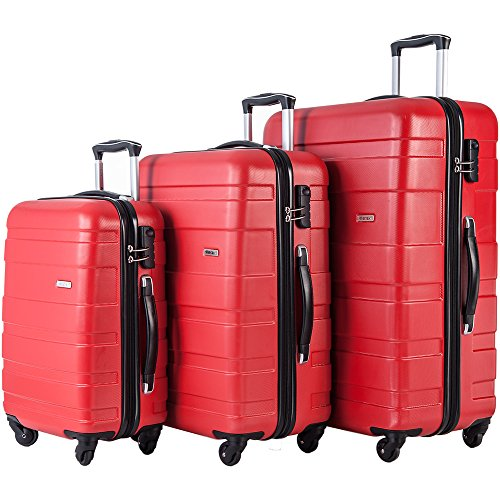 Merax Afuture 3 Piece Luggage Set Lightweight Spinner Suitcase (Watermelon Red) by Merax