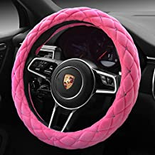 """Pink Color Winter Short Plush Car Steering Wheel Cover Crystal Rhinestone Auto Fur Steering-Wheel Covers Cases Universal Size 15"""""""