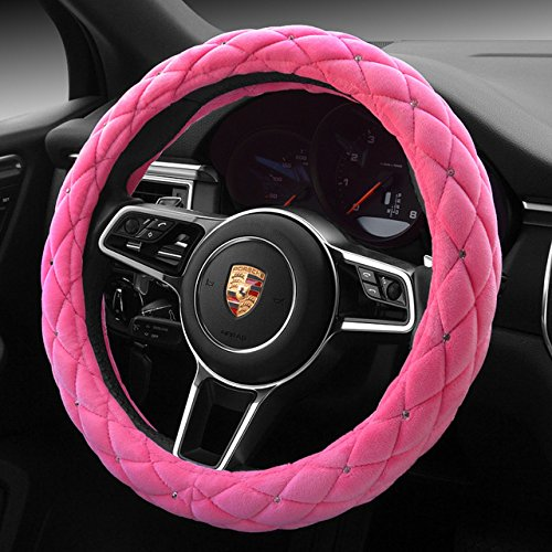 """Pink Color Winter Short Plush Car Steering Wheel Cover Crystal Rhinestone Auto Fur Steering-Wheel Covers Cases Universal Size 15"""" ()"""