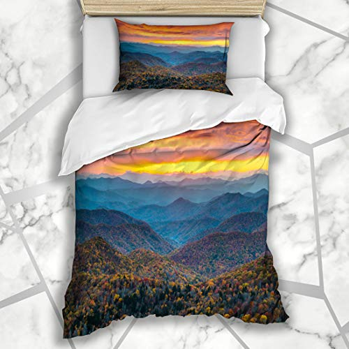 Ahawoso Duvet Cover Sets Twin 68x86 Asheville North Blue Ridge Parkway Nc Mountains Nature Parks Fall Park Smoky Appalachia Brevard Great Soft Microfiber Decorative Bedding with 1 Pillow Shams