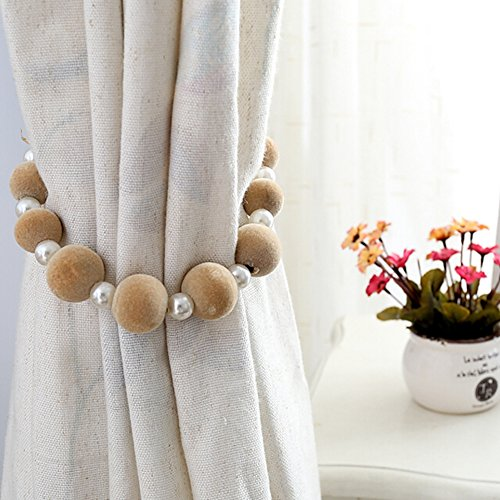 Trycooling A Pair of Modern Pastoral Style Hand Made DIY Beaded Curtain Tiebacks Holdbacks Rope Tying (Beige)