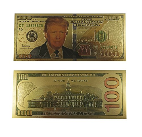 Authentic President Donald Trump Gold Plated Dollar Bill $100 Presidential Collectible Bank Note by Lane Co