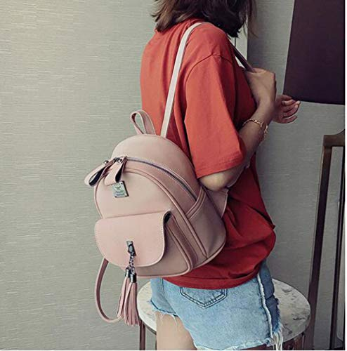 Backpack Bag Woman Synthetic Tassel Pink Mini Shoulder Leather P5Y5nqzXwU