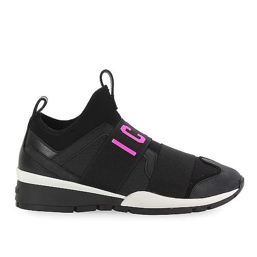 Dsquared2 Chaussures Femme Baskets Icon Néoprène Noir Fuchsia ... 5bee3c4f4b76