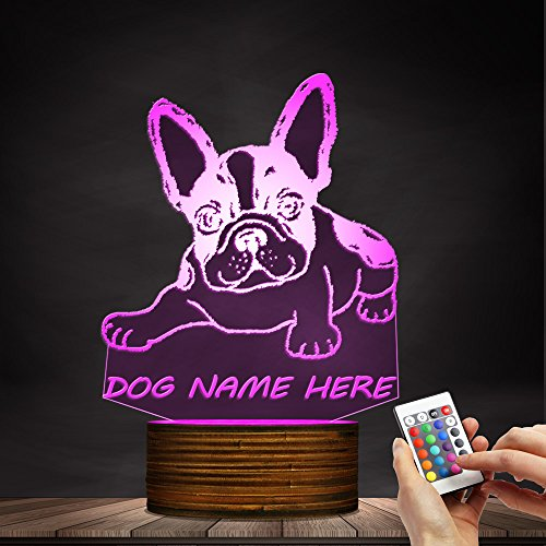 Tummy French Bulldog 3D Optical Illusion Night Light Custom Name Personality Bedroom Night Lamp Home Decor Art For kid Gift