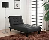 Convertible Chaise Lounge Chair -This Adjustable Lounger Is Perfect for Your Home or Living Room – Converts Into a Sleeper When Folded Down – Faux Leather Upholstery in Gorgeous Black-1 Year Warranty! Review