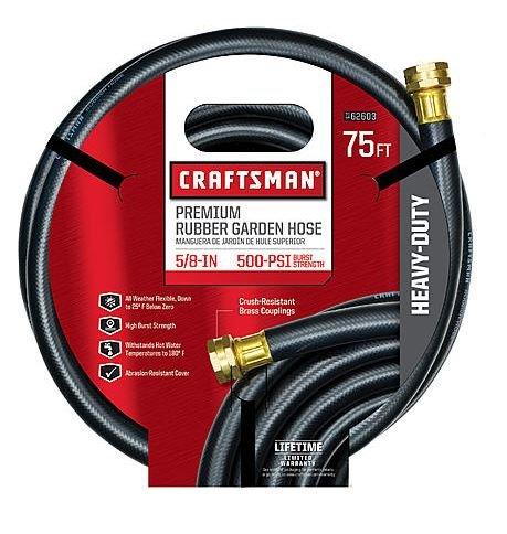 """Craftsman Garden Hose 75 ' X 5/8 """" Rubber"""