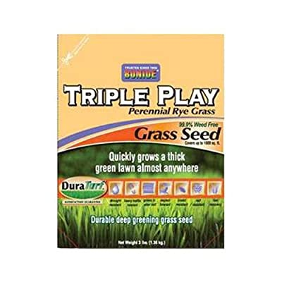 Bonide Products 60271 Triple Play Perennial Rye Grass Seed, 3-Lbs.