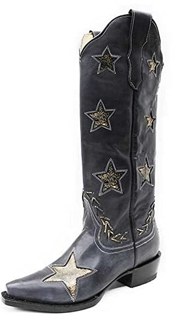 2bc7a917f18 Amazon.com | Stetson Western Boot Womens Star Snip Black 12-021-6115 ...