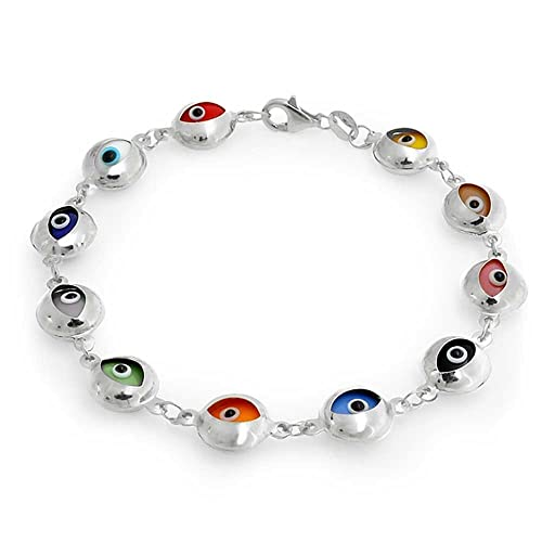 Bling Jewelry plata esterlina 925 mal de ojo Multicolor Pulsera de 7,5 pulg.