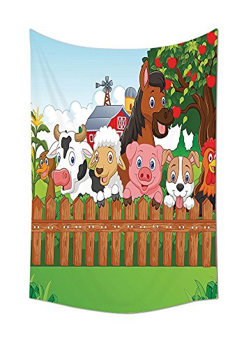 Horse Henry The Mascot (Cartoon Decor Collection Collection of Cute Farm Animals on the Fence Comic Mascots with Dog Cow Horse for Kids Decor Bedroom Living Room Dorm Wall Tapestry Multi)