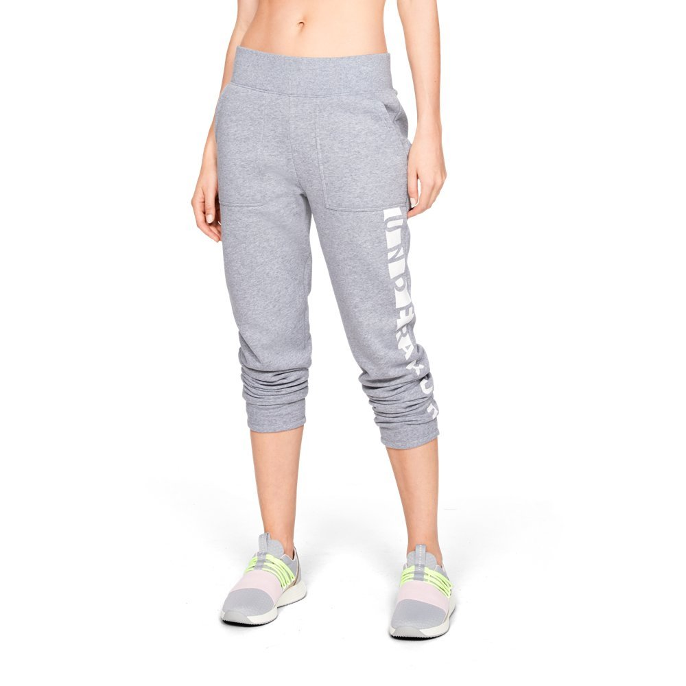 Under Armour Women's Rival Fleece Pant, Steel Light Heather (035)/White, X-Small