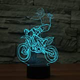 3D Novelty Cross-Country Motorcycle Night Light Touch Switch 7 Color Change LED Table Desk Lamp Acrylic Flat ABS Base USB Charger Home Decoration Toy Brithday Xmas Kid Children Gift