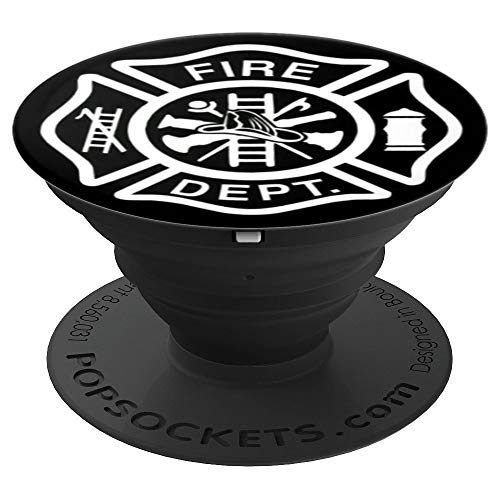 Fire Department Black and White Logo - PopSockets Grip and Stand for Phones and Tablets