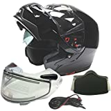 Adult Dual Visor Modular Full Face Snowmobile Helmet With Heated Shield